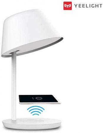 Lámpara de escritorio Wifi Yeelight, temperatura blanco ajustable. Compatible con Apple Homekit. No requiere hub para su funcionamiento. Tiene cargador inalámbrico.